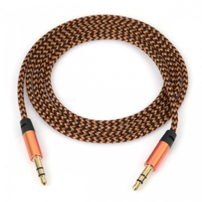 Nylon Braided 3.5mm Jack AUX Audio Cable - Golden (1m)