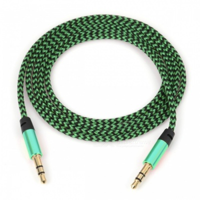 Nylon Braided 3.5mm Jack AUX Audio Cable -Green (1m)