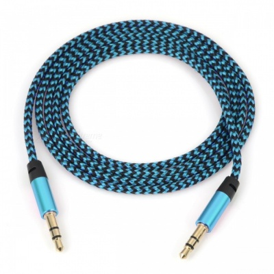 Nylon Braided 3.5mm Jack AUX Audio Cable - Blue (1m)