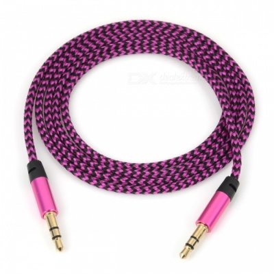 Nylon Braided 3.5mm Jack AUX Audio Cable - Pink (1m)