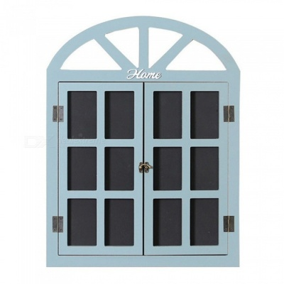 Black Board Message Board Window Shape Vintage Wall Decoration - Blue