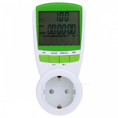 EU Plug Power Energy Meter Wattage Voltage Current Frequency Monitor