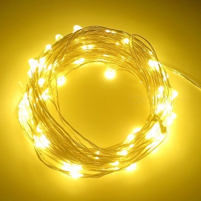 SZFC 10m 100-LED Waterproof Silver Wire Warm White LED String Light