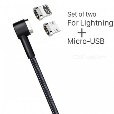 HOCO Micro USB and Lightning Magnetic Charging Cable for Phone - Black