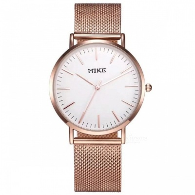 MIKE 8070 Simple Style Unisex Quartz Watch - Rose Gold, White