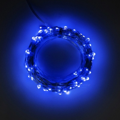5W 33Ft 10M 100-LED Battery Operated LED String Light - Blue Light