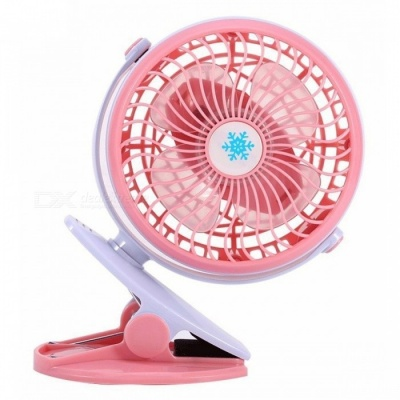 Portable Clip-on Mini USB Rechargeable Fan 360 Degree Rotation - Pink