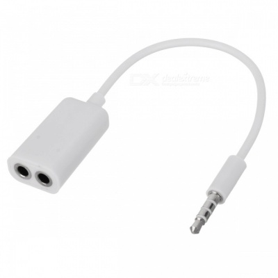 3.5mm Male to Two Female Splitter Audio Cable - White