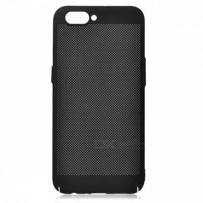 Protective Breathable Mesh Plastic Case for OPPO R11 - Black