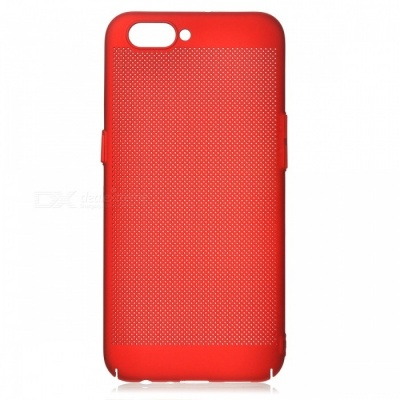 Protective Breathable Mesh Plastic Case for OPPO R11 - Red