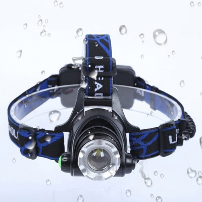 LED 3-Mode 500lm White XM-L L2 Zooming Headlight - Black (2x18650)