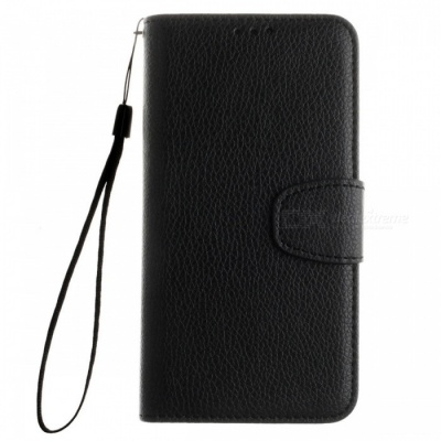 Dayspirit Lichee Pattern Leather Case for Huawei Y6 - Black