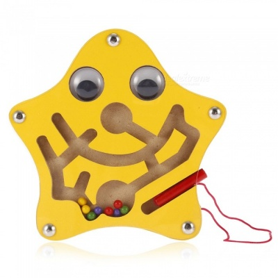 Wooden Cartoon Star Style Magnetic Pen Mazes Labyrinth Toy for Kids