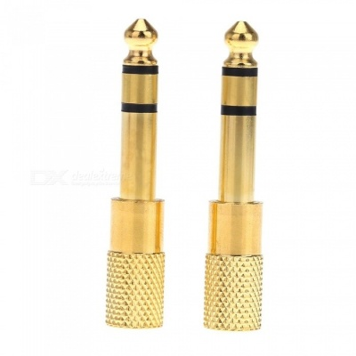6.35mm Male to 3.5mm Female Audio Adapter - Golden (2 PCS)