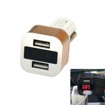 H-603 Car Charger Fast Charge 3.1A Dual USB w/ Digits Display - Golden