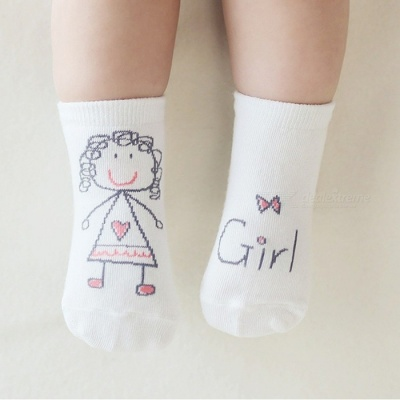 Anti-Slip Cotton Baby Socks for 0-6 Months Boys Girls - White (S)
