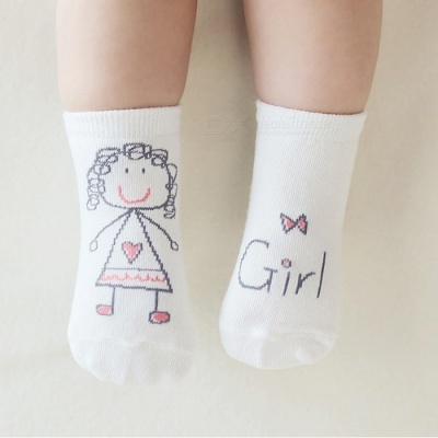 Anti-Slip Cotton Baby Socks for 6-9 Months Boys Girls - White (S)