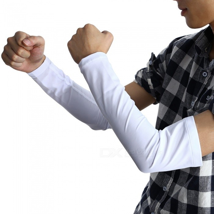 Outdoor Sports Riding Camping Sunproof Arm Sleeves - White (L)