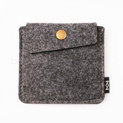 KEJEE Durable Felt Cloth Storage Bag for Earphone Accessories - Gray