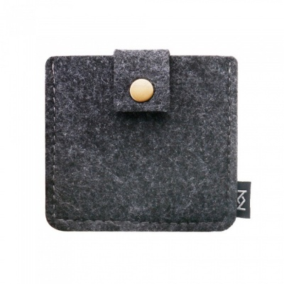 KEJEE Felt Cloth Storage Bag for Earphone Accessories - Dark Gray