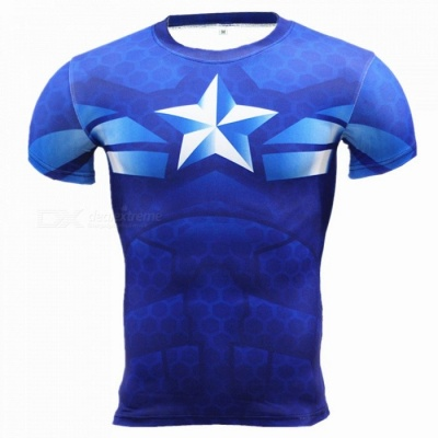 Outdoor Multi-functional US Captain Short-sleeved Men's T-shirt (L)