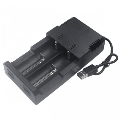 ZHAOYAO  4.2-7.5V Dual Slot USB Battery Charger with Cable - Black