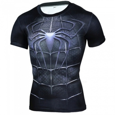 Outdoors Spiderman Pattern Short-sleeved Men's T-shirt - Black