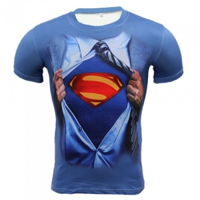 Outdoor Multi-functional Zipper Superman Pattern Men's T-shirt (M)