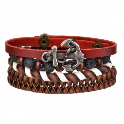 Retro Cool Woven Leather Beads Bracelet - Brown