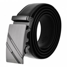 Men's Parallel Line Style Zinc Alloy Automatic Buckle Belt - Black