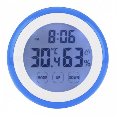 Backlit Digital LCD Thermometer Hygrometer - Blue