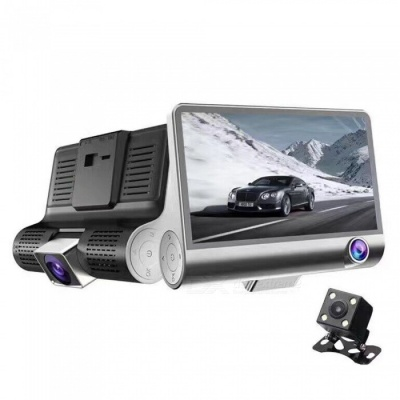 """KELIMA 4"""" HD Wide-Angle Car Driving Recorder DVR with 3 Lens"""