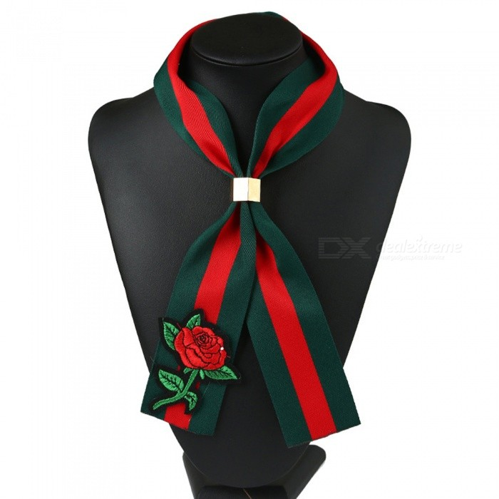 Fashion Vintage National Style Cloth Rose Embroidery Scarf Collar
