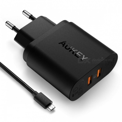 AUKEY PA-T16 Dual USB Wall Charger with Quick Charge 3.0 - Black (EU)