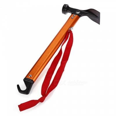 Aluminum Alloy Camping Tent Hammer with Hook - Orange
