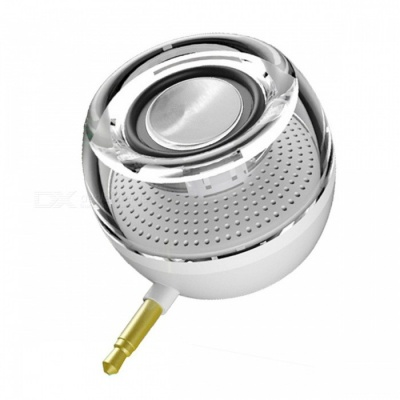 Portable HIFI 3D Surround 3.5mm Aux Audio Jack Mini Speaker - White