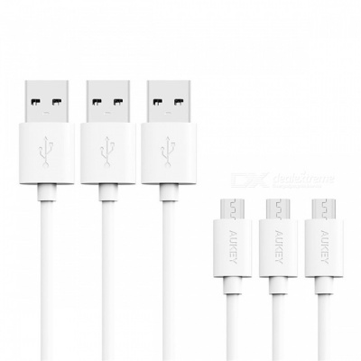 AUKEY CB-D10 1.2m USB 2.0 Male to Micro USB Data Cable - White (3 PCS)