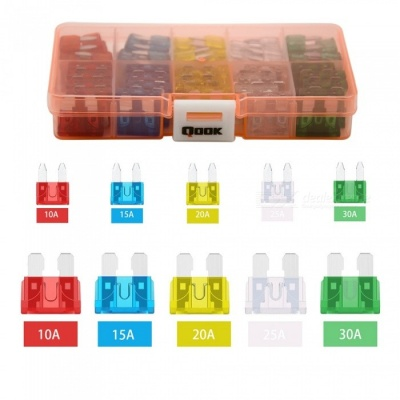 QooK 120Pcs Assorted Fuses with 10Pcs Inline Fuse Holders