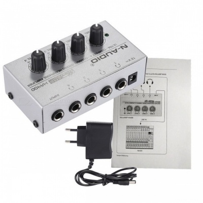 HA400 4 Channels Mini Audio Stereo Headphone Amplifier - EU Plug