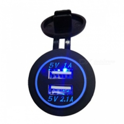 12V-24V Waterproof Dual USB Car Cigarette Lighter Car Charger - Blue