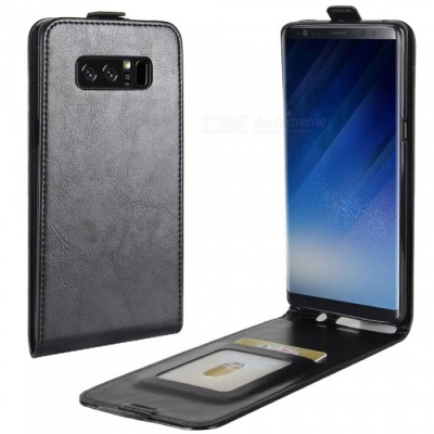 Up-Down Flip Open Protective PU Case for Samsung Galaxy NOTE8 - Black