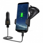 Mindzo Qi Car Mount Fast Wireless Charger with Adapter - Black