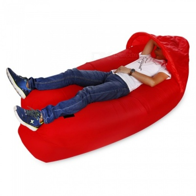 Multi-Function Outdoor Inflatable Sofa with Sun Shade - Red