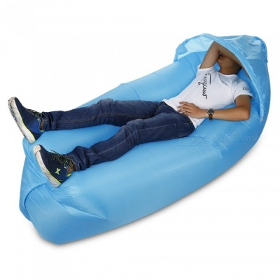 Multi-Function Outdoor Inflatable Sofa with Sun Shade - Sky Blue
