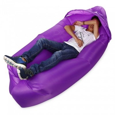 Multi-Function Outdoor Inflatable Sofa with Sun Shade - Purple