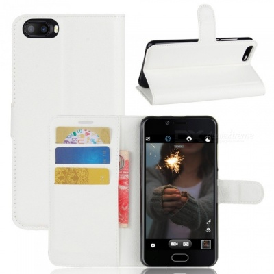 Lychee Pattern Protective PU Case for Doogee Shoot 2 - White