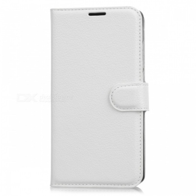 Lychee Pattern Flip-Open PU Case for Doogee MIX - White