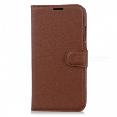 Lychee Pattern Flip-Open PU Case for Doogee MIX - Brown