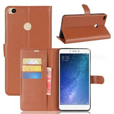 Lychee Pattern Flip-Open PU Case for XIAOMI MAX 2 - Brown