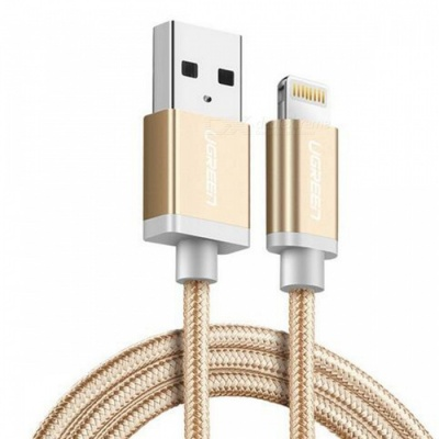 Ugreen US199 Nylon Lightning to USB Charging Data Cable - Gold (2m)